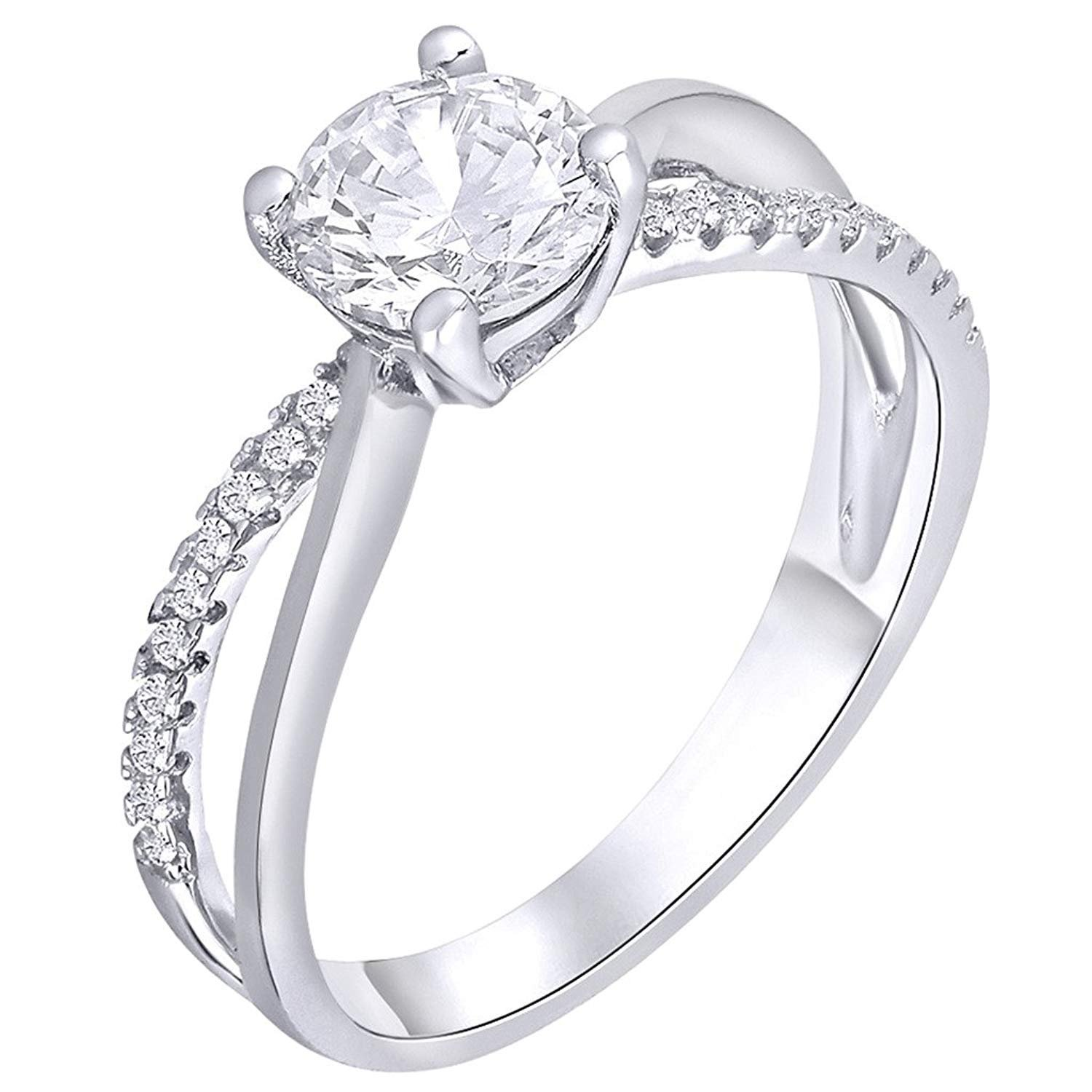 GS /& CO 1.65cts White Round solitaire with accents Unique CZ Diamond Engagement Ring 925 Sterling Silver