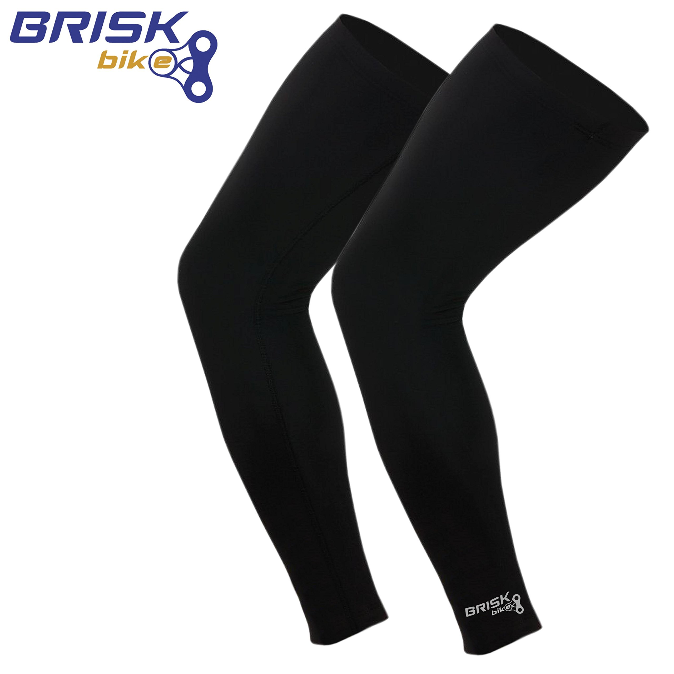 Brisk Cycling Leg Warmer Thermal Knee Running Compression Black S/m