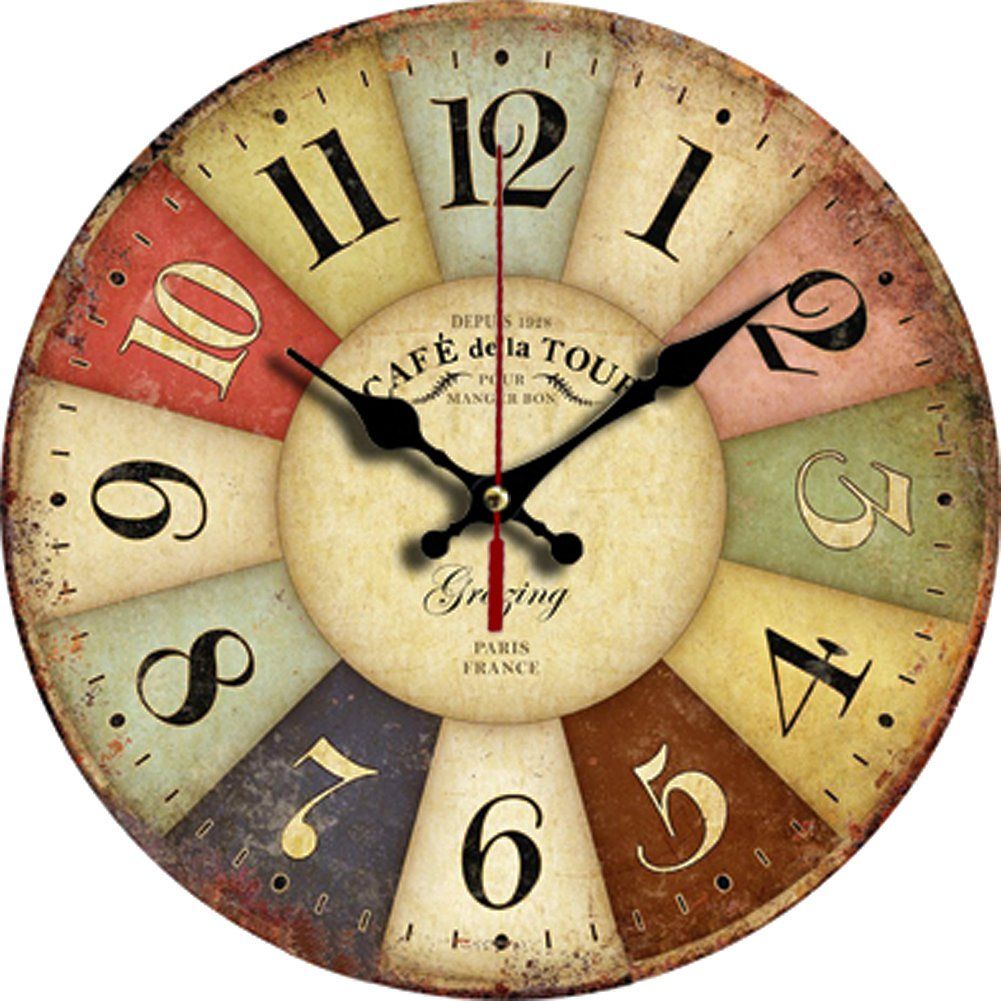 """Grazing 12"""" Vintage Rustic Country Tuscan Style Arabic Numerals Wooden Decorative Round Wall Clock (Colorful)"""