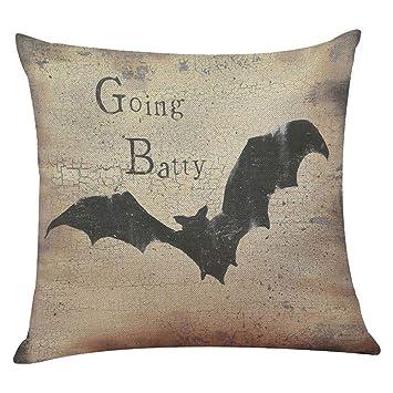 Amazon.com: Happy Halloween Pumpkin Bat Skull - Funda de ...