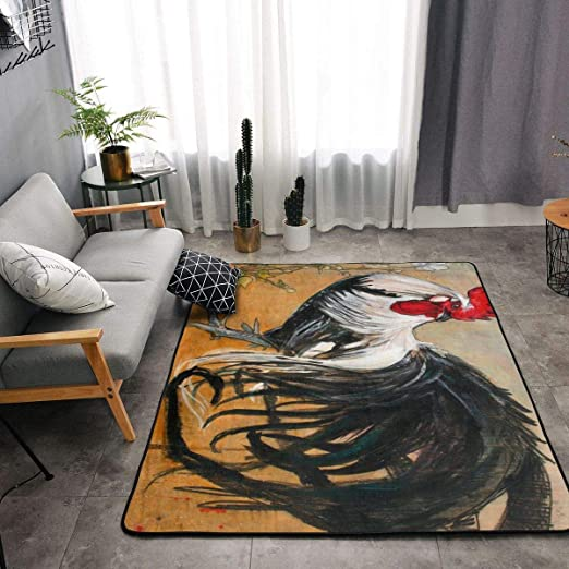 Amazon Com Bedroom Living Room Kitchen Extra Large Kitchen Rugs Home Decor Bright Rooster Chicken Floor Mat Doormats Fast Dry Toilet Bath Rug Yoga Mat Throw Rugs Runner Home Kitchen