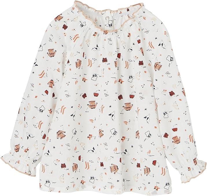 VERTBAUDET Conjunto de blusa estampada + falda de pana con ...
