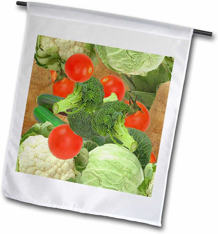 3dRose fl_63055_1 Garden Flag, 12 by 18-Inch, Vegetable Pattern