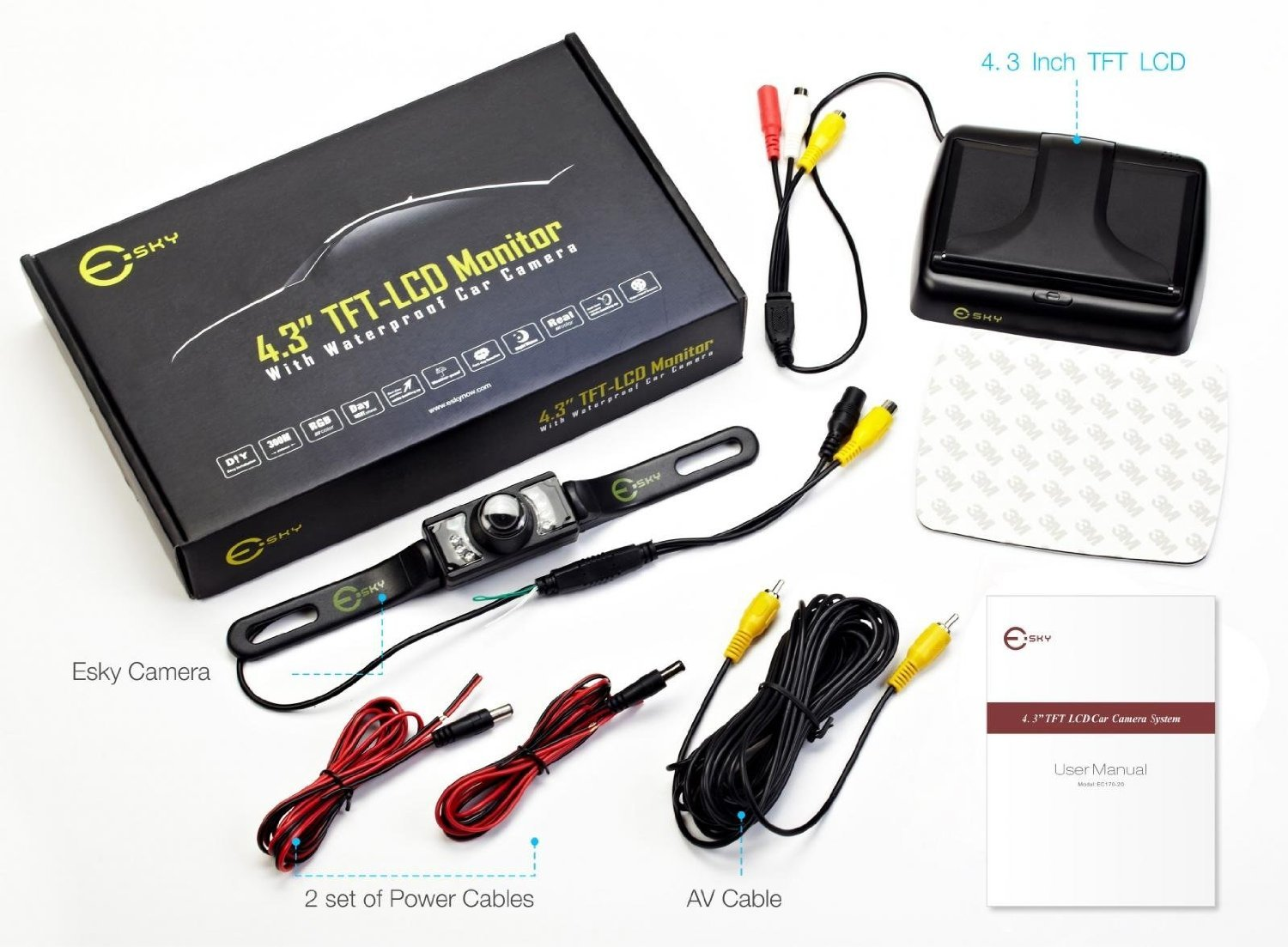 Esky Ec170 20 43 Inch Rear View Tft Lcd Monitor With Wiring 135 Degree Waterproof Car Camera Cell Phones Accessories