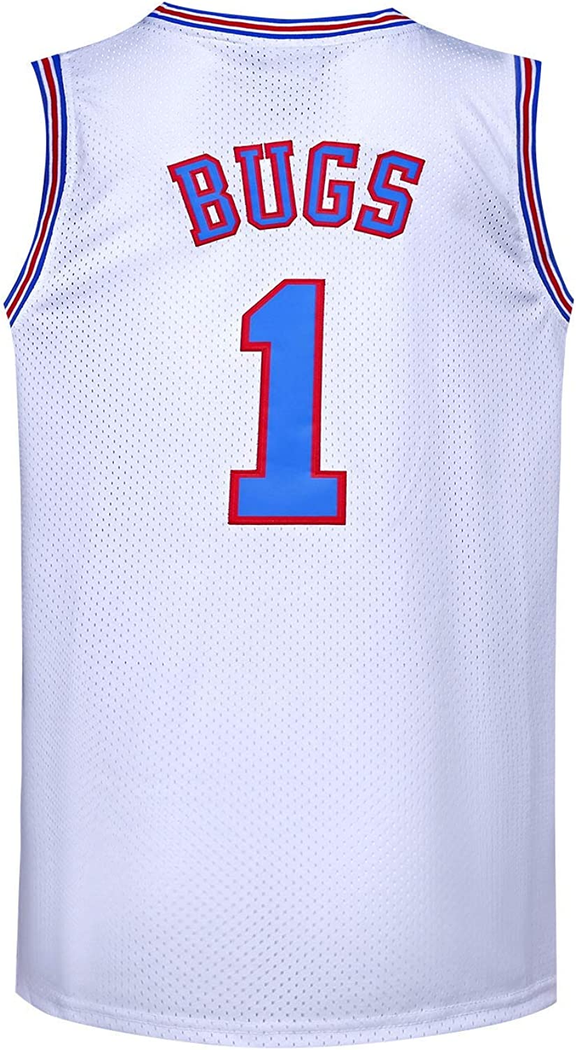 Youth Basketball Jersey #1 Moive Space Jam Jerseys Bugs Shirts for Kids