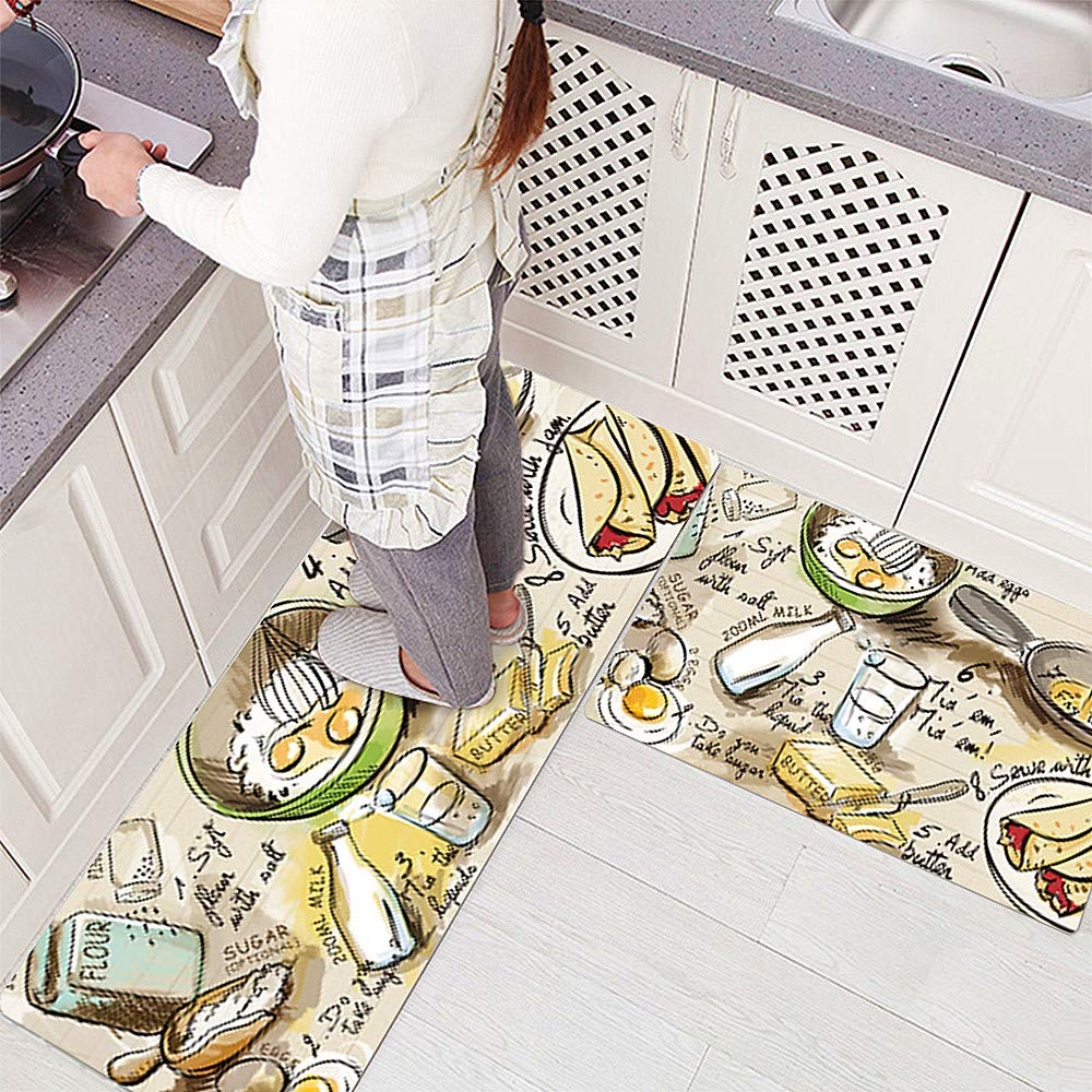 Maize 17.7'' X 31.5''+17.7'' X 47.2'' Ustide Accent Kitchen Rug with Latex Backing,17.7 x70.9  Creative Food