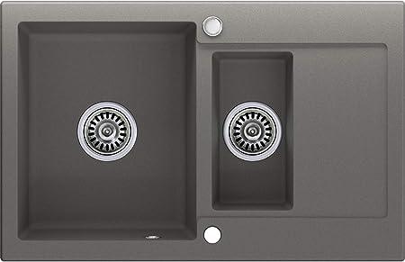 Noir 1.5 bac avec siphon automatique /évier de cuisine /Évier granit Primagran