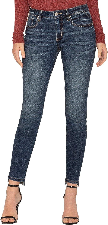 Miss Me Womens Basic Step Up Mid Rise Ankle Skinny Jeans Step Hem Detail
