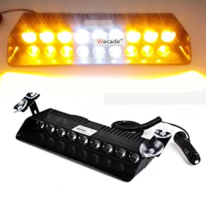 Wecade 9 Led 9w Car Truck Strobe Windshield Dash Lights 16 Pattern Super Bright for EMS Law Enforcement Warning LED Strobe Lights (Amber/White/Amber)