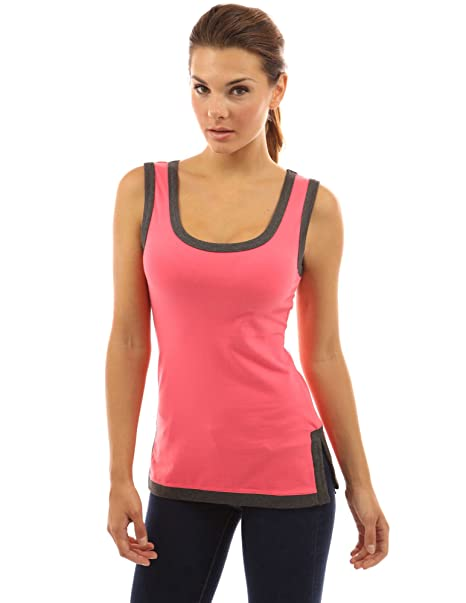 91219c9fcacd PattyBoutik Women's Scoop Neck Trim Side Slit Tank Top (Coral and Gray L)  at Amazon Women's Clothing store: