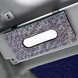Dotesy Capa para toalha de papel brilhante para carro com cristais de couro para mulheres (branca)