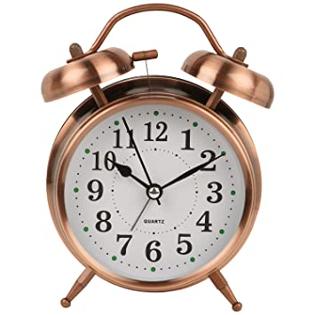 BJE Big Size Quartz Twin Bell Alarm Clock With Light (8820) ,Copper, (Size 16cm * 12 cm* 6 cm )