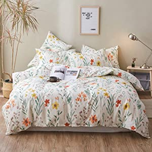 VM VOUGEMARKET Floral Duvet Cover Set Queen,100% Cotton Reversible Colorful Flower Plant Duvet Cover Matching 2 Pillow Shams,Green Leaves Pattern Bedding Set for Teens Girls Women-Queen,Floral