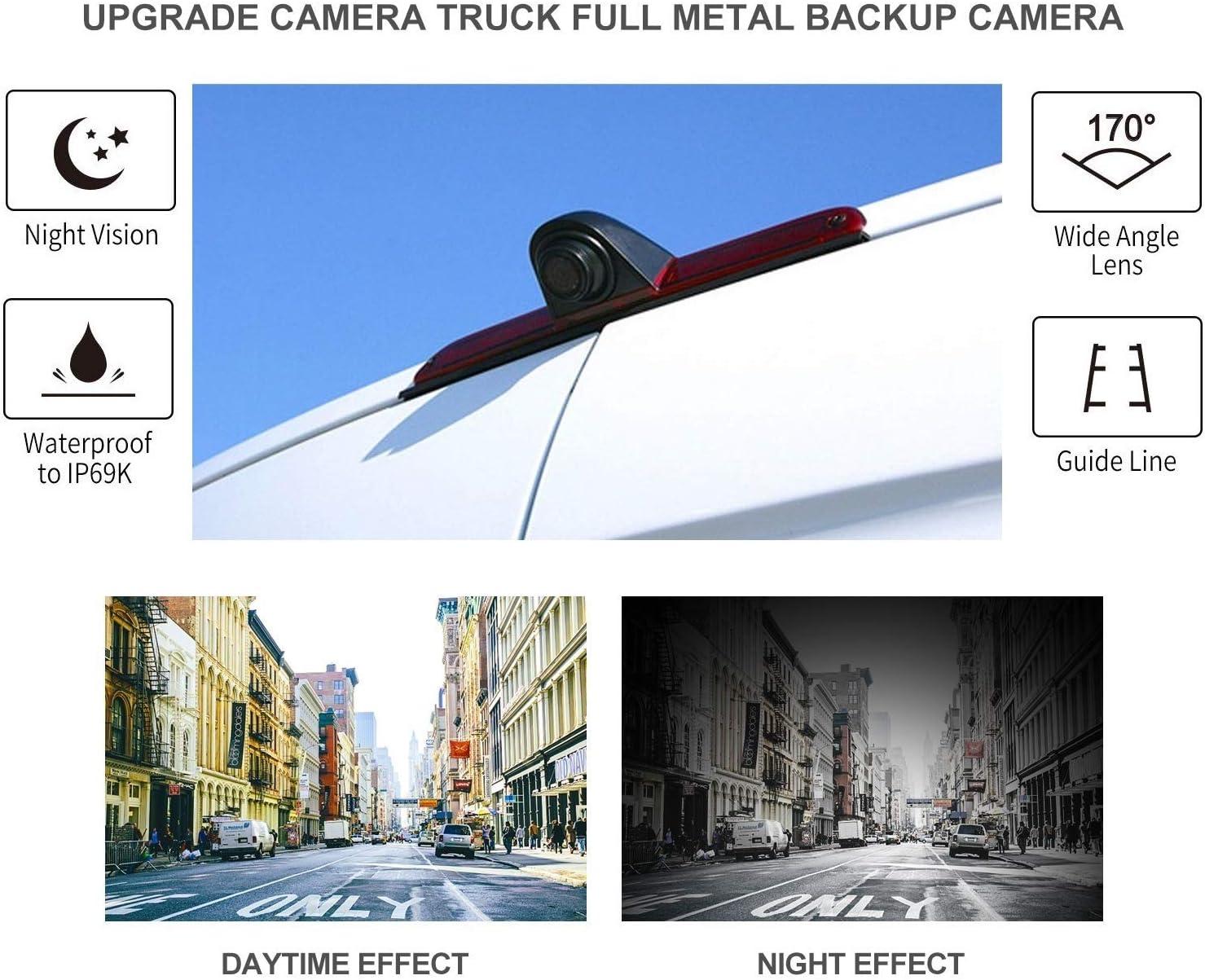 HD 3rd Rear Brake Light Reversing Camera Kit with 4.3 inch TFT LCD Dash Monitor for FORD Transit MK8 FORD Transit F150//F250//F350 2014-2019