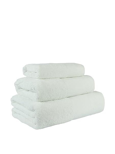 Flor de Algodón Panama Juego de 3 toallas algodón, BLANCO, 30x50 ...