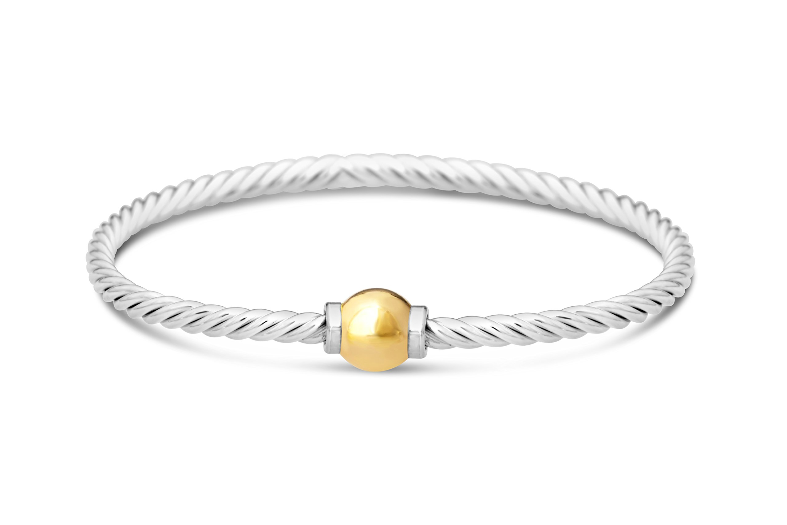 Beach Ball Twist Bracelet from Cape Cod two-tone14k solid ball gold-925 sterling silver bangle (6.5)