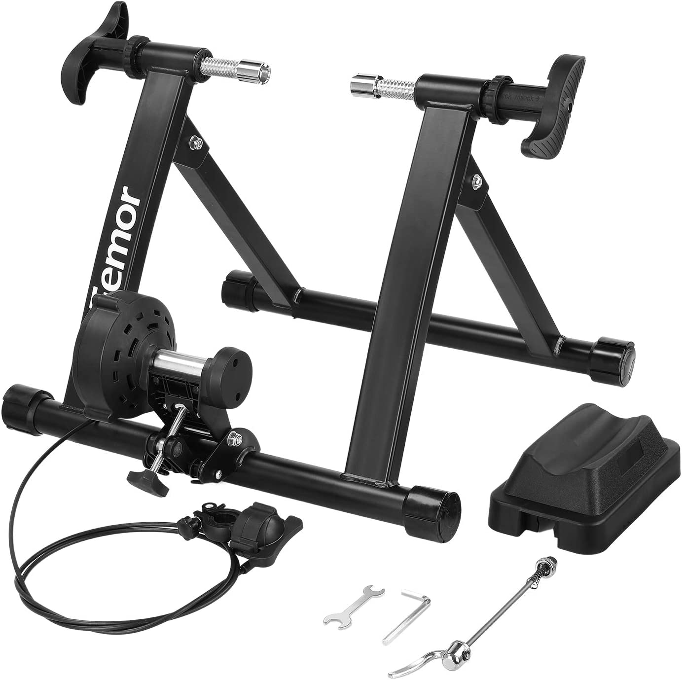 Femor Rodillo Bicicleta, Rodillo Ciclismo Plegable, Rodillo Magnetico de Acero,Ejercicio Ciclismo con 8 Niveles de Resistensia,Carga hasta 150KG,para Entrenamiento Ciclismo en Casa