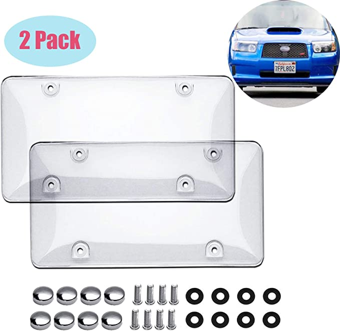 Transparent . Sparkle-um Car License Plate Cover Protector Shields-2 Pack Universal Clear Bubble Design Novelty Plate Covers Fit Most Standard US Plates Screws Included