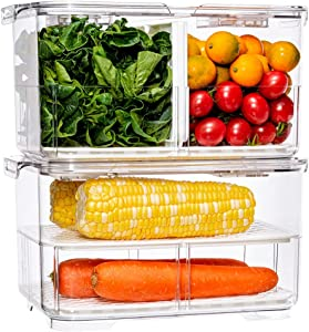 SANNO Produce Saver Food Storage Container with Lids and Vents,Vegetable Fruit Storage Containers Stackable Salad Lettuce Keeper for Refrigerator,set of 2