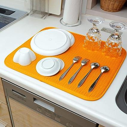 Amazon.co.jp: QLIBO 水切りマット キッチン 食器 吸水 速乾 大判 ...