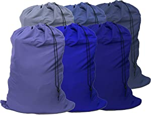 "YETHAN Extra Large Laundry Bag 6 Pack, Blue, Travel Laundry Bags with Drawstring Closure, 30""x40"", for College, Dorm and Apartment dwellers."