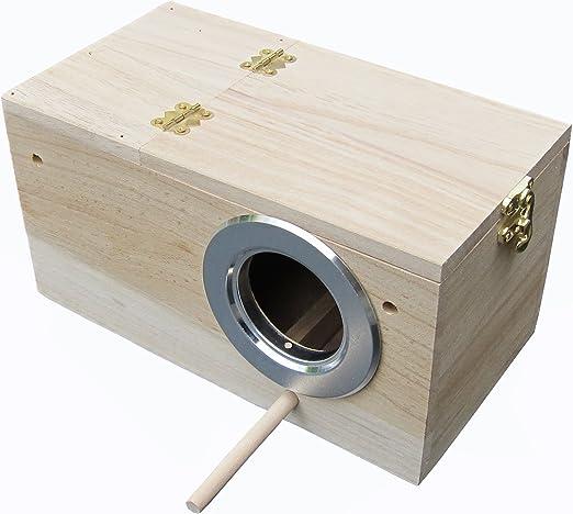 Caja nido de periquitos, casa de nido de periquitos, caja de cría para pájaros, caja de apareamiento 848102: Amazon.es: Productos para mascotas