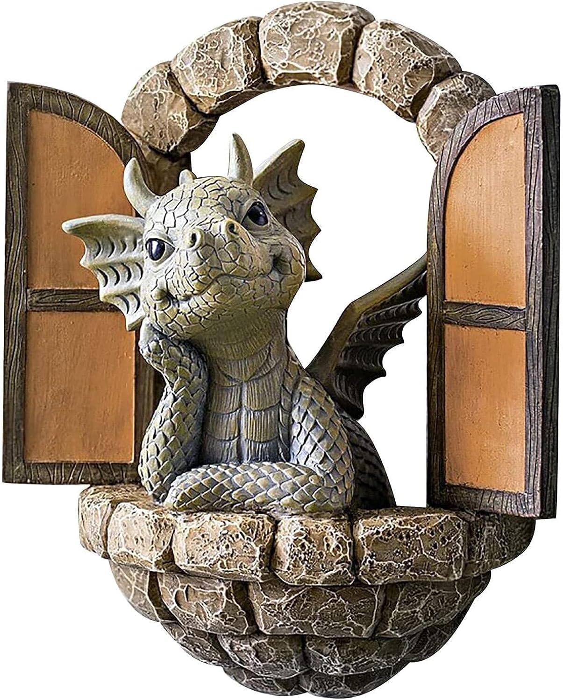 CargoTi Garden Decor Statue Dragon Sculpture Home Decor Resin Window Shape Statue for Patio Yard Art Decor Lawn Ornaments admired