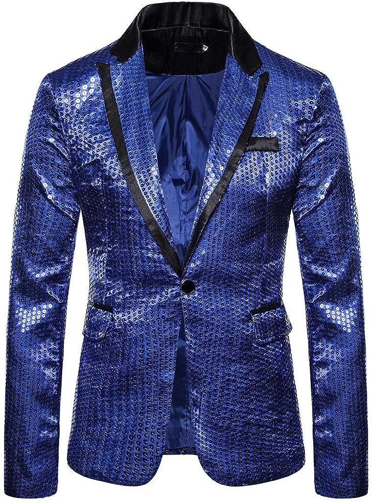 Adlforever Herren Pailletten Anzug Shiny Glitzer Sakko Suit Anz/üge f/ür Hochzeit Party Nachtklub Jacke Host Kost/üm Slim Fit Herren Modisch Blazer Mantel M/änner Outwear S-2XL