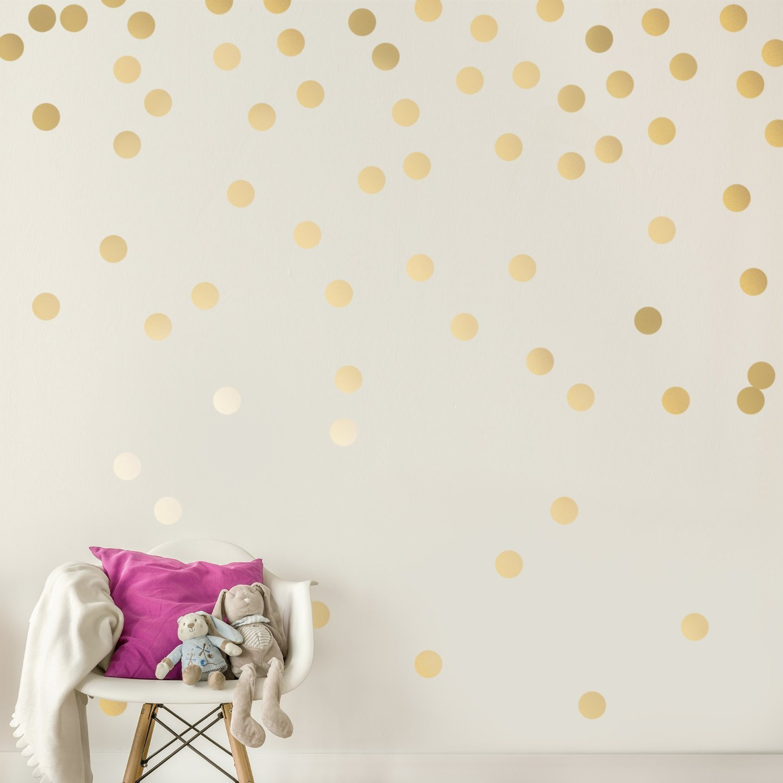 "Gold Wall Decal Dots, Sundecor Metallic Vinyl Polka Dot Decor Cute Fun Removable Round Circle Art Glitter Stickers Gold Round Polka Posh Dot Decor for Kids Room, Mirrors, and Doors (Gold, 2"" x 200pcs)"