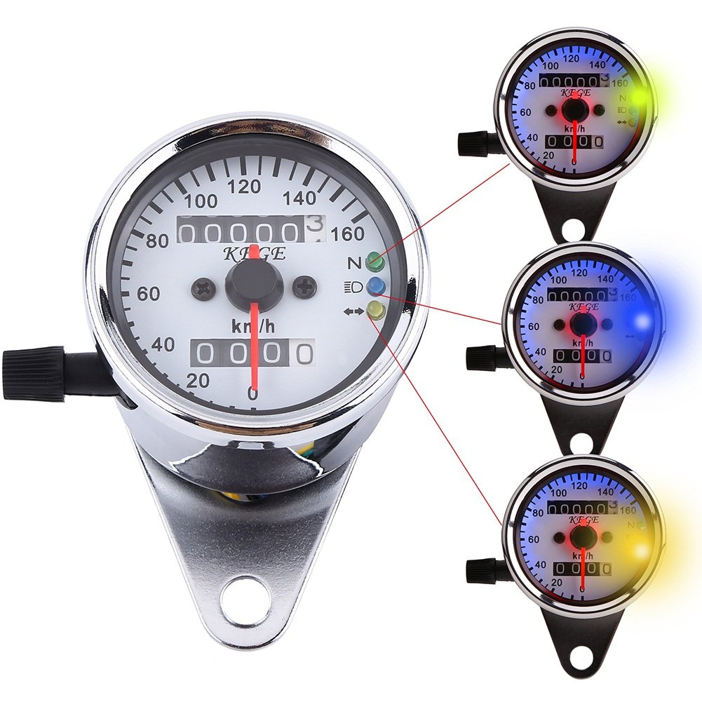 Motorcycle Dual Odometer Speedometer Gauge LED Backlight Turn Signal Lamp Kit (Color : Silver) VGEBY BAXDCQU-AMA-QC00963-02