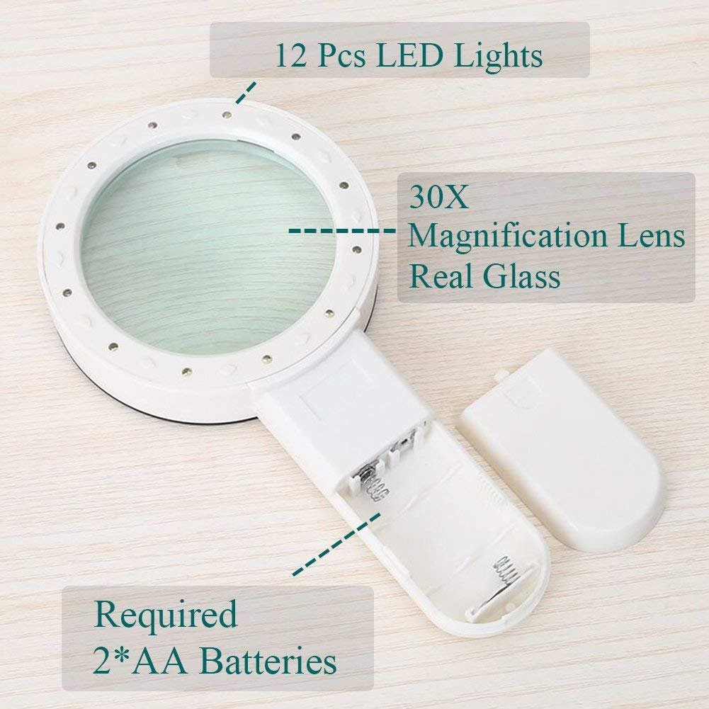 30X Magnifying Glass with LED Light - High Power Handheld Lighted Magnifier with Large Double Glass Lens Led Magnifiers for Seniors Reading,Coins, Stamps, Map,Jewelry, Inspection, Macular Degeneration by Mity Rain (Image #5)