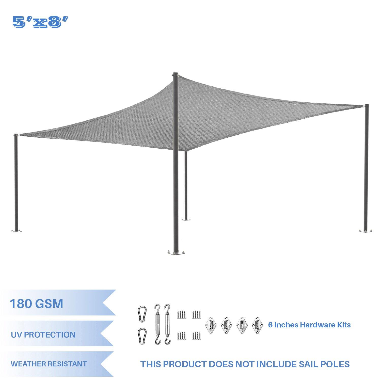 E&K Sunrise 5' x 8' Light Gray Rectangle Sun Shade Sail Stainless Steel Hardware Kit Outdoor Shade Cloth UV Block Fabric,Curve Edge-Customized