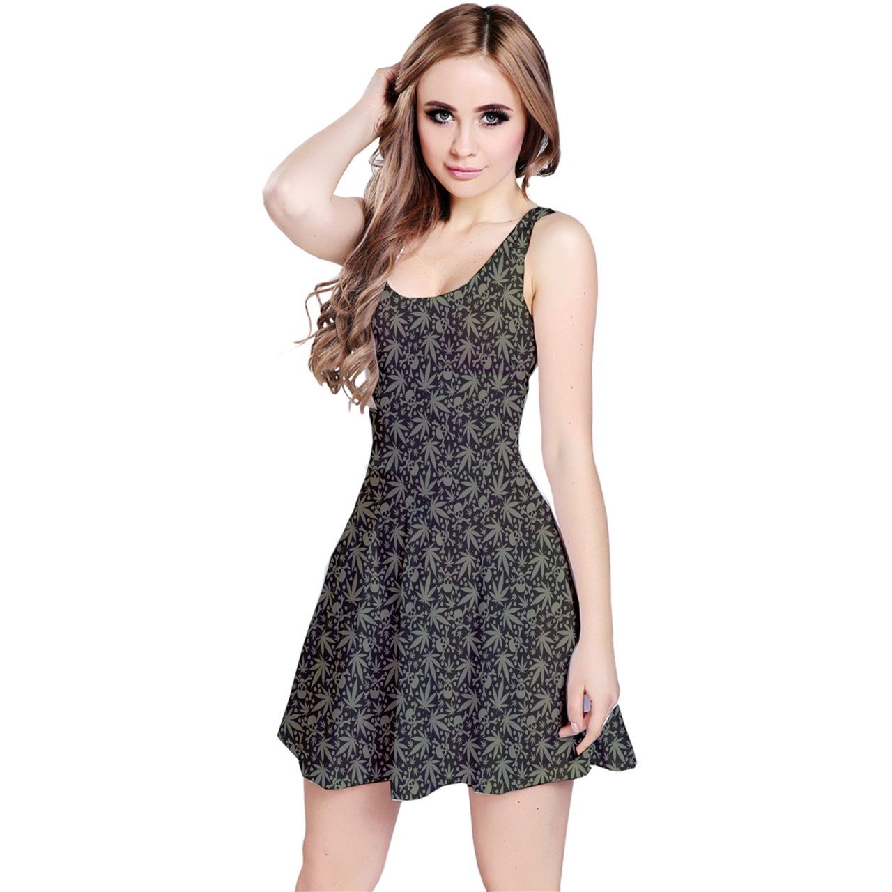 CowCow Womens Dark Cannabis Leafs Skulls Pattern Sleeveless Dress