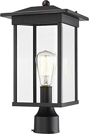 "Bestshared Outdoor Post Lantern, 16.5""H Outdoor Post Lighting Fixture, Exterior Post Pole Light for Patio,Pathway, Driveway, Front/Back Door, Post Lamp in Black Finish"