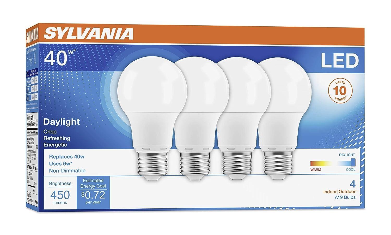 LED Light Bulb 5000K SYLVANIA Daylight Efficient 6W Medium Base A19 Lamp Energy Saving /& Longer Life Value Line 40W Equivalent 4 Pack Renewed