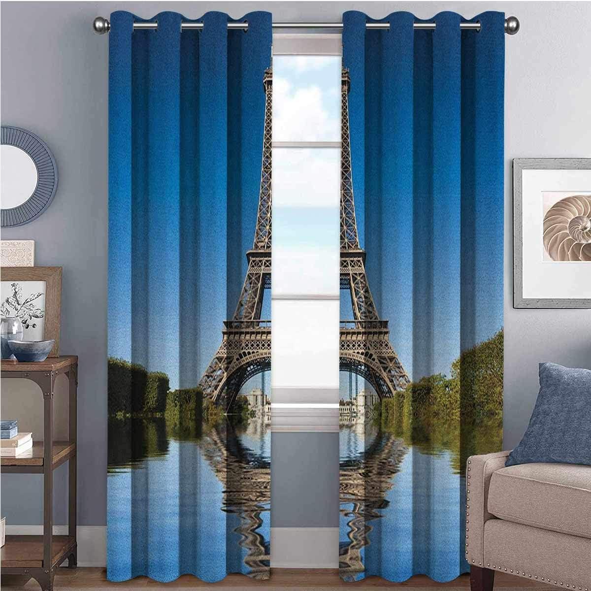 Toopeek Paris - Cortina de color resistente al desgaste, famosa torre Eiffel reflejada en el agua, diseño histórico de arquitectura francesa, 2 paneles de 52 x 84 pulgadas, color azul, verde y gris