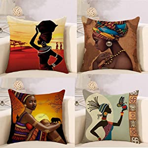 RABUIT African Indians Style Holiday Throw Pillow Covers 18x18 Pack of 4 Pattern Cushion Covers Decorative Throw Pillows for Sofa Bed Chair (African Customs 4 Pack)