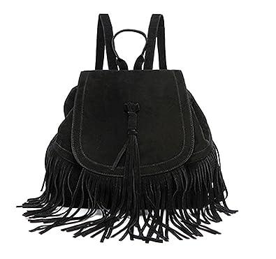 Amazon.com: Tyler Morrison Casual Women Backpack Mini Tassels Rucksack Fashion Solid Women Shoulder Bag Satchel Faux Suede Leather Mochilas School Bag ...