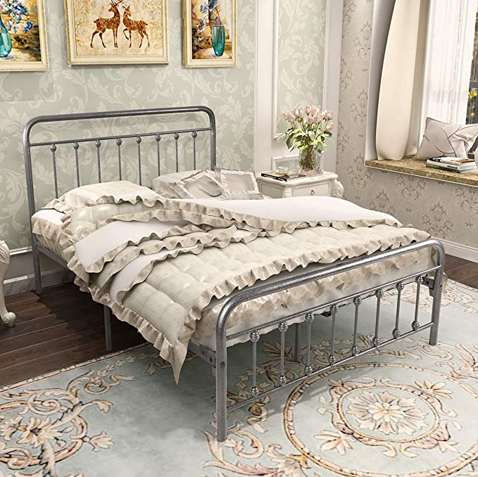 DUMEE Metal Bed Full Size with Headboard and Footboard Mattress Foundation Metal Platform Slat Support Box Spring Replacement Black