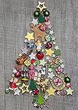 Set di 10 biglietti di auguri di Natale, motivo: albero di Natale colorato, stile shabby nostalgico