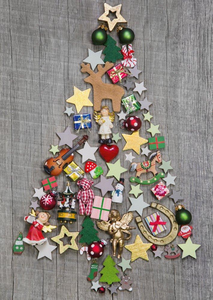 Set di 10 biglietti di auguri di Natale, motivo: albero di Natale colorato, stile shabby nostalgico Edition Colibri