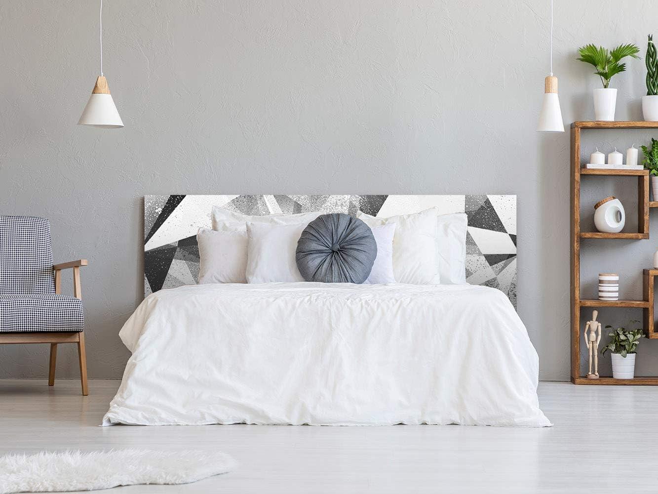 Triangles Noirs et Blancs T/ête de lit Impression Num/érique sur PVC Sticker Vinyle Adh/ésif Autocollant Fond Mural   De 100 x 60 cm