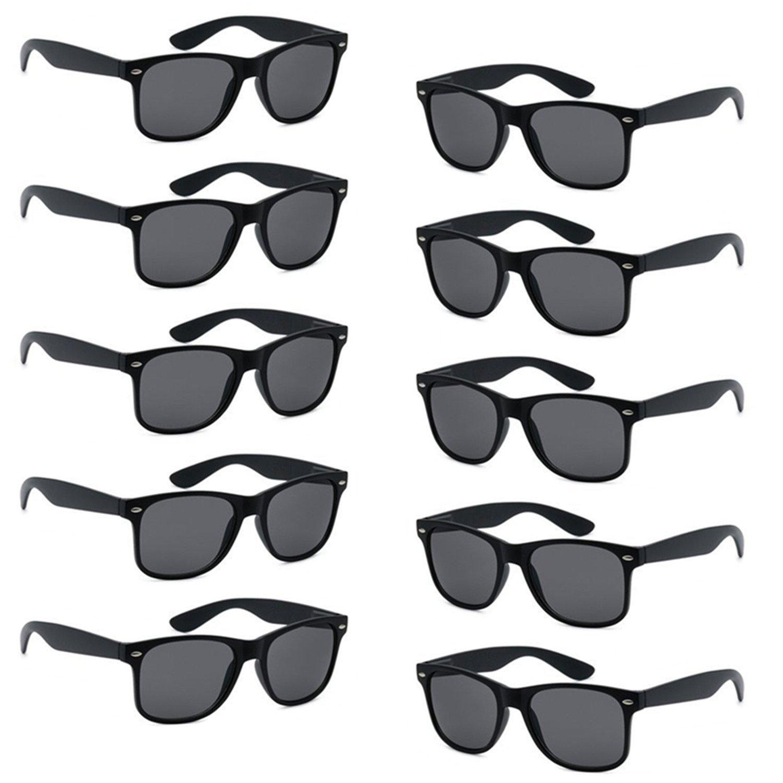 8ef571dc40 FSMILING Wholesale Unisex 80 S Retro Style Bulk Promotional Sunglasses 10  Pack Black Party Glasses  Amazon.co.uk  Toys   Games