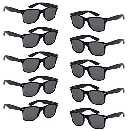 6d67e191c419f FSMILING Wholesale Unisex 80 S Retro Style Bulk Promotional Sunglasses 10  Pack Black Party Glasses  Amazon.co.uk  Toys   Games