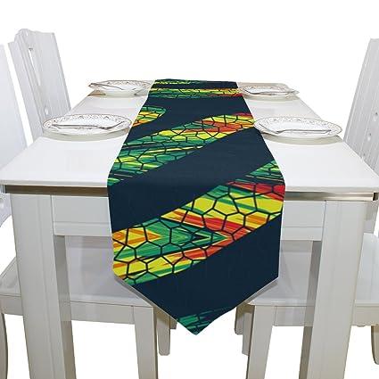 Azul Viper tigre impresión Doodle estilo camino de mesa decoración para bodas, cenas, fiestas