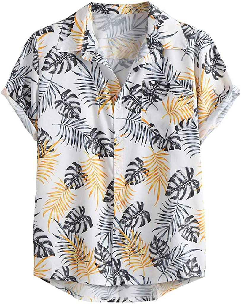 2019 Trend Mens Blouse Button Down Hawaiian Shirt Party Casual Short Sleeve Tee Tops by perfectCOCO