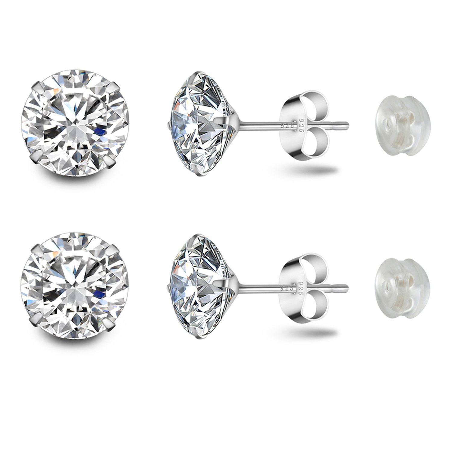 Stud Earrings Platinum Plated Sterling Silver Round Cut Cubic Zirconia 8mm 2.5 Carat Fashion Jewelry for Women & Girls's Ear Lobe with Gift Box