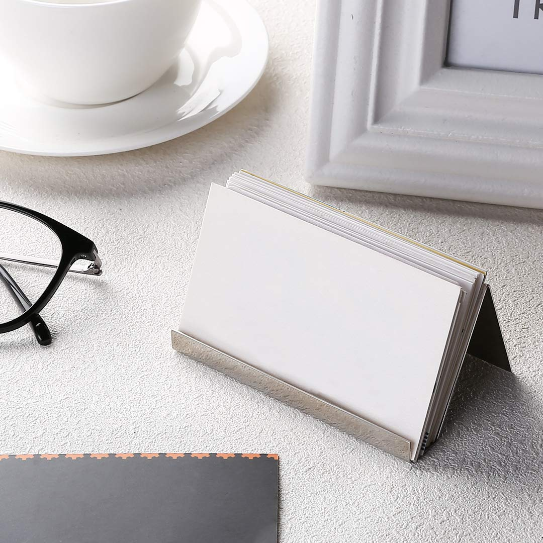 2 Pack Desktop Business Card Holder for Office Desk Name Card Display Rack Organizer Stainless Steel by WUYASTA (Image #5)