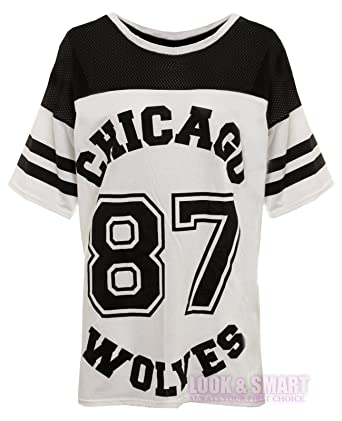 NEW WOMENS AMERICAN JERSEY FOOTBALL TOP 87 CHICAGO WOLVES PRINT VARSITY  COLLEGE T SHIRT 8- a48e79cd90c