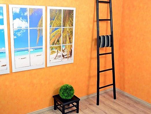 De madera de bambú de escalera estrecha de 200 cm de colour negro: Amazon.es: Hogar